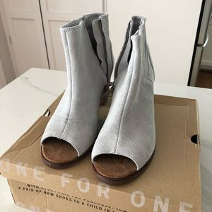 Grey Suede Heeled Booties